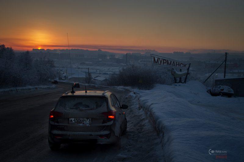 На въезде в Мурманск, со стороны Североморска.
