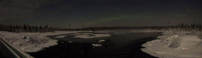Панорама Пиренги. С Северным сиянием до кучи. Лучше смотреть на моём втором сайте в полном размере.